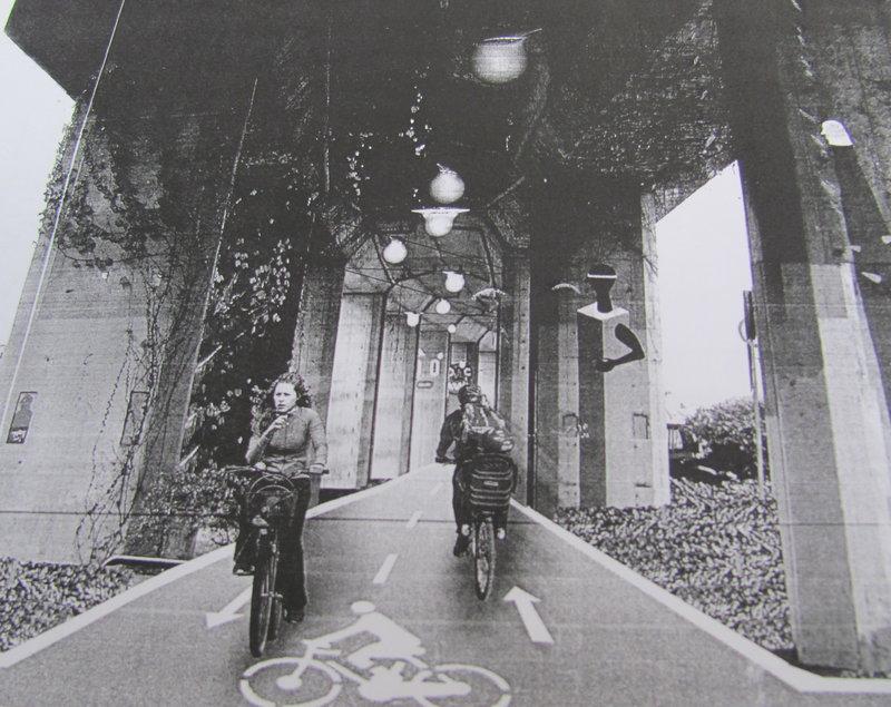 Projecte recreat del nou carril bici sobre el viaducte del tren a Girona. Projecte de l'Ajuntament.