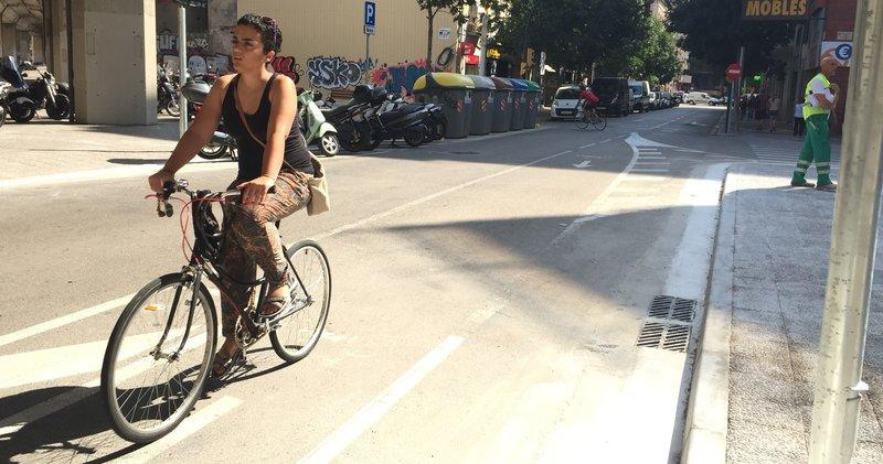 Girona. Bicicletes. Tram on es farà el carril bici des de la travessia del Carril fins al carrer Nou, passant pel carrer Santa Eugènia